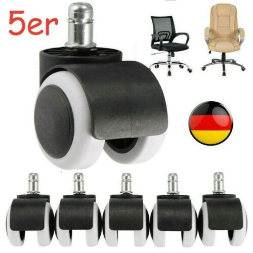 5x Rollen für Bürostuhl Caster Wheels für Schreibtisch Stuhl Gummi Ersatz Räder