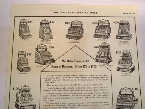 Antique National Cash Register Advertising Showing Different Models /& Prices Ncr