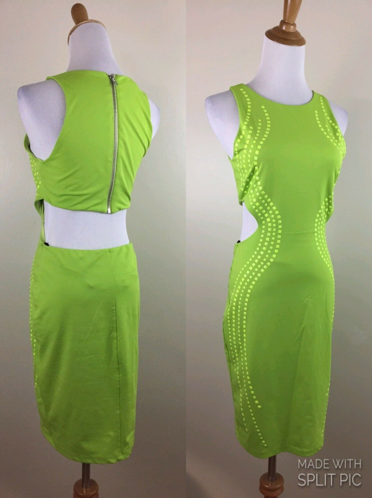Bebe Womens M Medium Bright Green Studded Cut Out Fitted Stretch Bodycon Dress