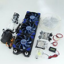 CPU GPU Water Liquid Cooling 360 Radiator Kit Pump 190mm Reservoir LED Heat Sink