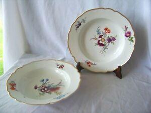 2-Antique-Meissen-Porcelain-Soup-Plates-Marcolini-Period-w-HP-Floral-Designs