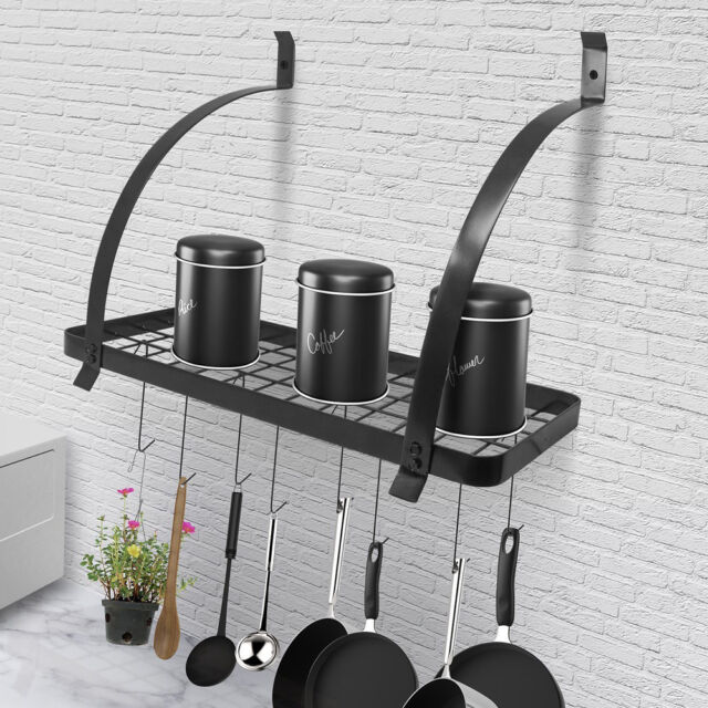 Pot Pan Wall Mount Holder Hanger Rack Shelf Cookware Kitchen Storage Organizer