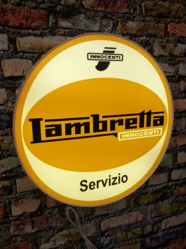 LAMBRETTA Servizio, Service   illuminated sign,,,mancave,workshop,shed,house