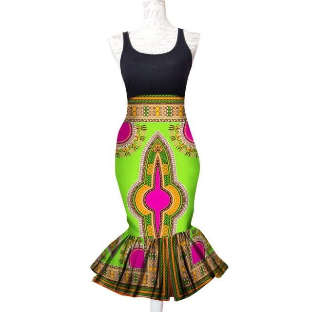 TINA African Print Front Split Full Length//Maxi Skirt 100/%Wax Cotton Handmade UK