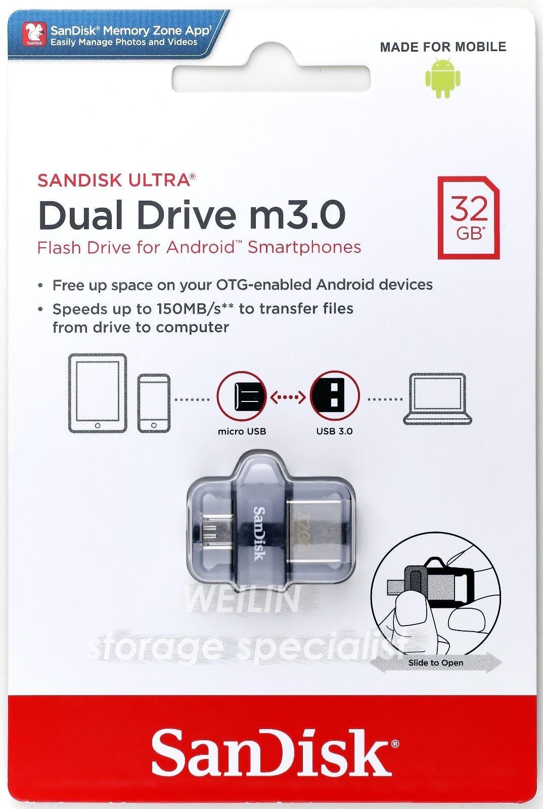 Sandisk Ultra Dual Drive M30 32gb Usb Flash Sddd3 032g G46 Otg New Norton Secured Powered By Verisign