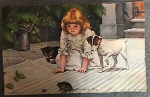 "Sloan & Co Symbol Of The Brand Vintage 1907 J.v 17"" X 11"" Picture ""friend Or Foe"" Girl W/ Cat Dog Strengthening Waist And Sinews"