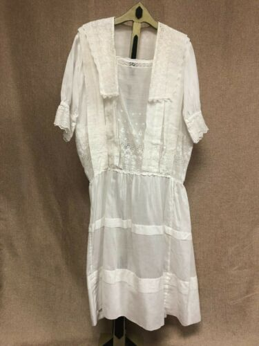 Antique Edwardian White Cotton Dress with Floral E