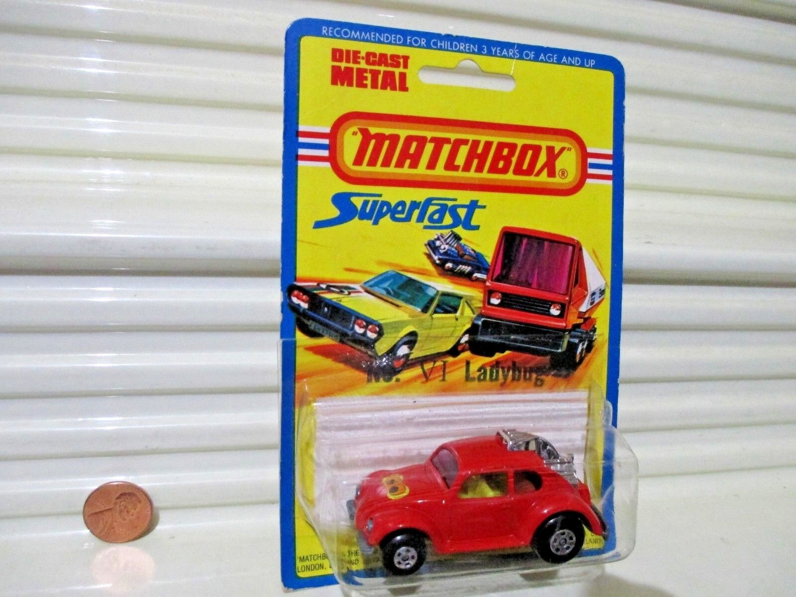 LESNEY MATCHBOX 1971 No 31B volksdragon avec  No. VI Lady Bug  Base + Yeux ÉTIQUETTE