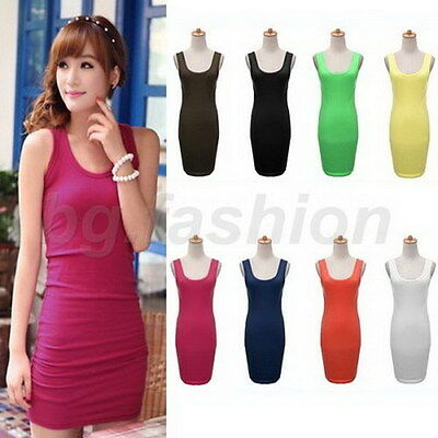 Candy Colour Women Sleeveless Long Tank Tops Waistcoat Skinny Vest Dress Hot J