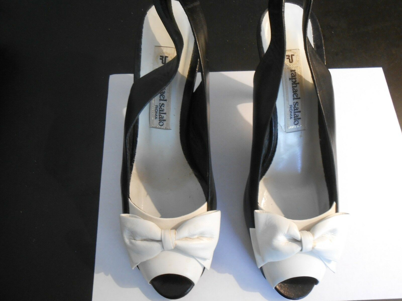 RAPHAEL SALATO--ROME--BLACK/WEISS SLINGBACKS----37 Günstige und gute Schuhe