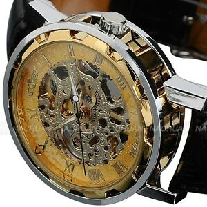 Classic Men 039 s Gold Dial Skeleton Black Leather ...