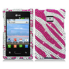 LG Optimus Dynamic L38G Crystal Diamond BLING Hard Case Cover Silver Pink Zebra