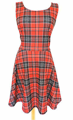 Cute RED TARTAN A LINE SKATER DRESS Sleeveless Plaid Checked LOLITA Celebrity 14