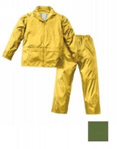 Chaqueta Pantalones Nylon Recubierto PVC, Capucha Fijo Tamaño XXXL Color Verde