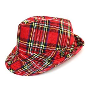 3d855823a80 Adult Mens Red Tartan Trilby Fedora Hat   Heisenberg Checked Plaid ...