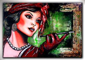 BURGSTALLER-Moderne-Kunst-Malerei-Frau-Portrait-Gesicht-gemalt-Acrylbilder-Bild
