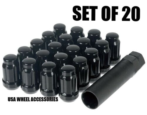20 Closed End 12X1.25 Thread Black 6 Spline Lug Nuts w//Key