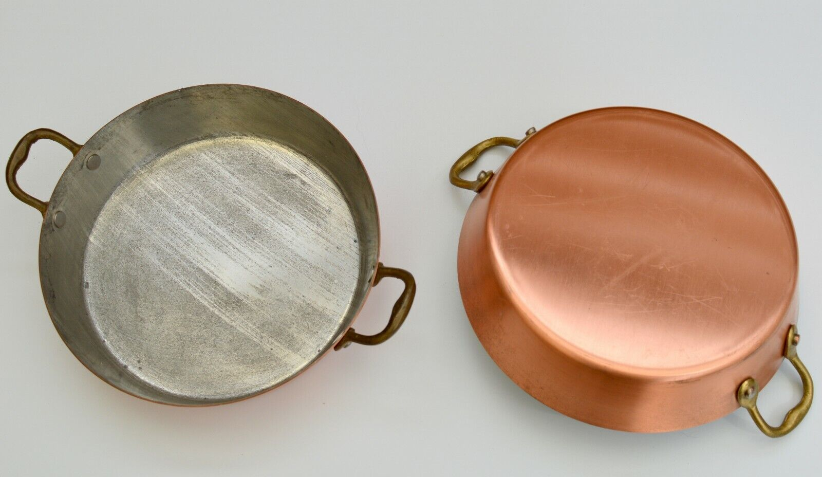 French vintage 8  meat tin pie oval copper pan pot saute  cuivre set of 2