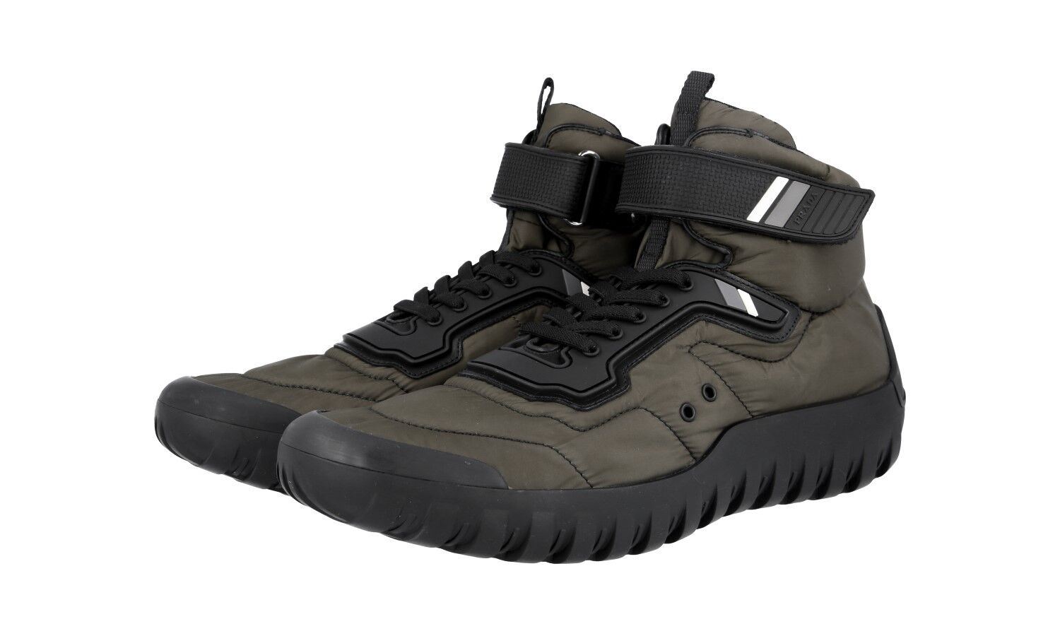 shoes HIGH-TOP SNEAKER PRADA LUXUEUX 4T3131 MILITARE black 9 43 43,5