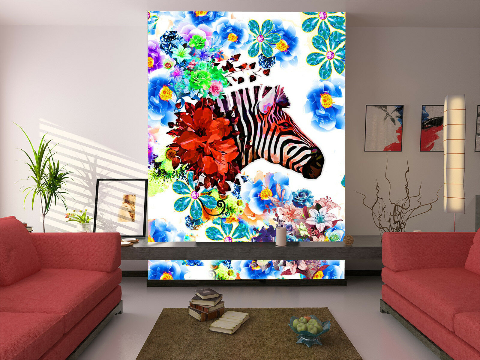 3D bluee Flower Zebra 27 Wallpaper Mural Paper Wall Print Wallpaper Murals UK