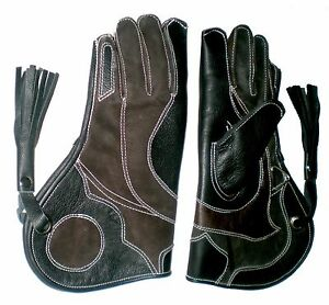 Falconry-Glove-Triple-Skinned-Nubuck-Leather-12-Inch-3-Layers-Black-and-Brown