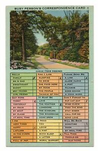 1949-Busy-Person-039-s-Correspondence-Card-Linen-Postcard-Park-Scene-Flowers-Trees