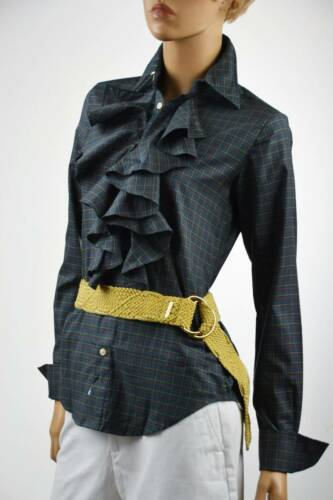 Ralph Lauren Ruffled Teal Blue Plaid Long Sleeve Blouse NWT