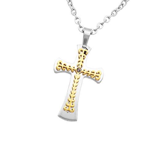 Unisex 316L Edelstahl Kreuz Kruzifix Pray Anhänger religiösen Kette