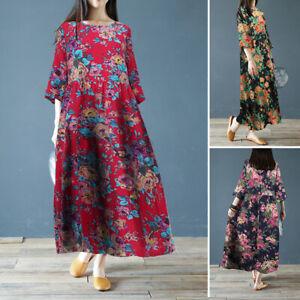 Oversize-Femme-Robe-Imprime-floral-Manche-3-4-100-coton-Loisir-Col-Rond-Dresse