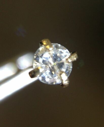 .09CT 3mm Round Cut Natural Diamond 14K Yellow Gold Nose Ring Stud Sparkly