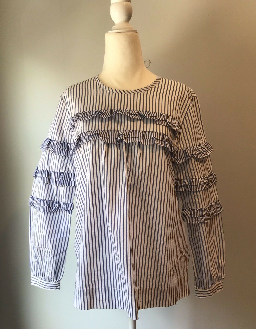 NEW J. CREW TIErot TOP IN MIXED STRIPES SZ 4  G7012