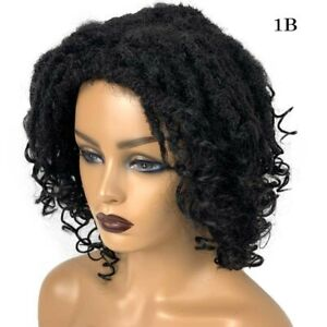 1B Black Faux Locs Crochet Wig Goddess Curly Hair Dreadlock Braided Twisted Wigs