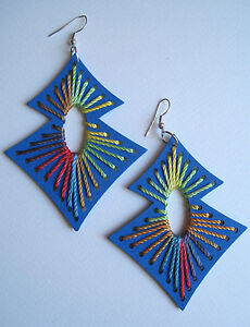 AZTEC-WOODEN-STAR-ETHNIC-EARRINGS-INDIE-GRUNGE-NEO-SOUL-BLUE-PINK-RED-PURP