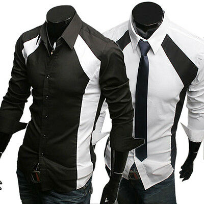 Fashion Men Business Formal Dress Shirts Long Sleeve Buttoms Shirts Casual Shirt