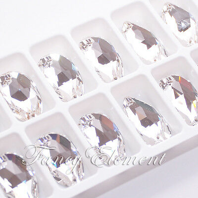 Swarovski 3230 Teardrop Crystal Clear 28x17mm Sew On Rhinestone Foiled Flat Back