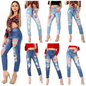 f33ce81bc0c New Women's Ladies Extreme Ripped Distressed Hole Mom High Waisted ...