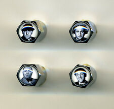 Three Stooges 4 Chrome Plated Brass Tire Valve Caps Moe, Larry, Curly & Shemp