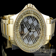 Men's King Master 47 MM Yellow Gold Finish Genuine Real Diamond Watch 0.12 Ctw