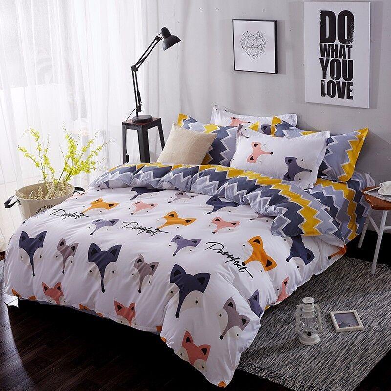 CUTE FOX KIDS Duvet Cover Bedding Set (Pillowcases + Flat Sheet)- FULL QUEEN