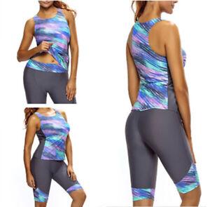 b548c31686 Womens Sleeveless Top   Cropped Pants Two Piece Unitard Tankini ...