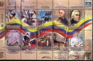 #1766 VENEZUELA 2004 FLAGS,FRANCISCO DE MIRANDA MSHEET YV 2577-86 CV 18.50 EURO