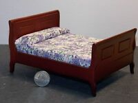 Dollhouse Miniature Sleigh Bed Mahogany Finish 1:12 One Inch Scale F0