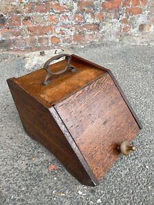 LOVELY ANTIQE VICTORIAN FIREPLACE DARK OAK COAL BOX WITH INSERT - SMALL COAL BOX