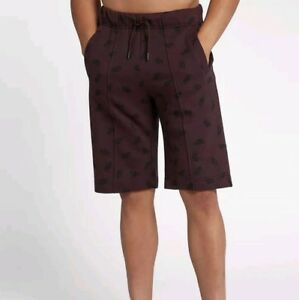 3d7e24443 Image is loading Nike-Sportswear-Air-Logo-Print-Fleece-Shorts-Burgundy-