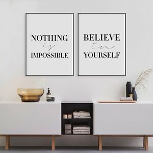 2PC-Believe-Quotes-Art-Print-Poster-Wall-Picture-Canvas-Painting-No-Frame-Decor