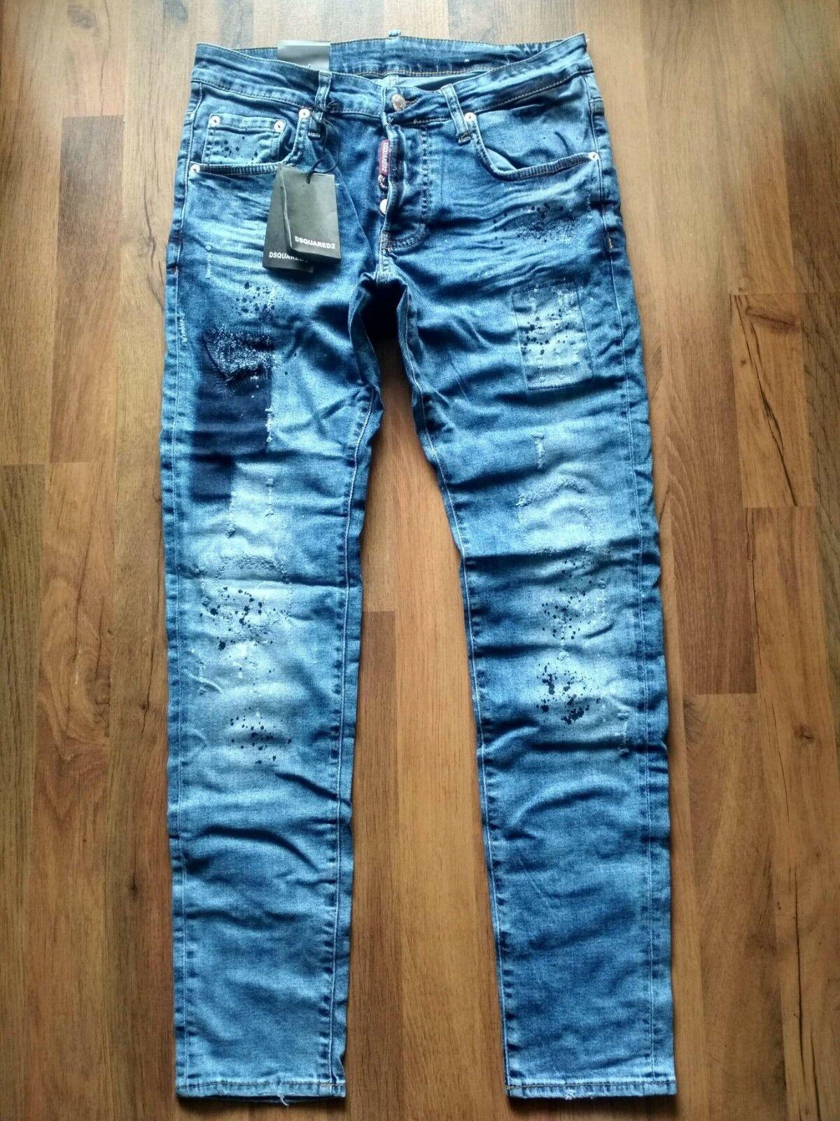 ee798735 BNWT MENS PAINTED JEANS, SIZE 33 48 EU DSQUARED2 nfywxe3675-Jeans