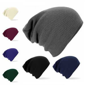 e92070c4191f16 Image is loading Beechfield-Unisex-Slouch-Knitted-Cap-Woolly-Hat-Beanie-