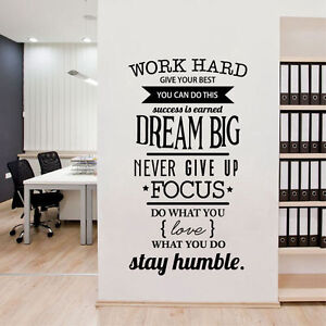 Office motivational quotes wall sticker work hard vinyl for Real estate office wall decor