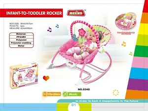 Newborn Baby Rocker Bouncer Reclining Chair Soothing Music Viberation Spacious