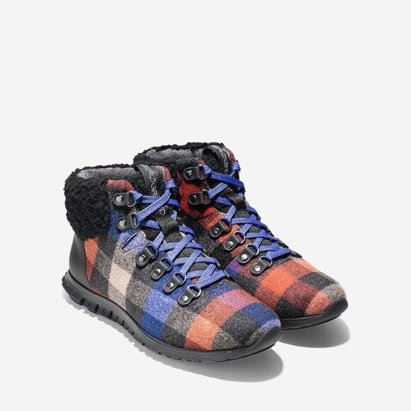 250 Authentic COLE HAAN ZEROGRAND HIKER Plaid Wool Waterproof Boots 7.5